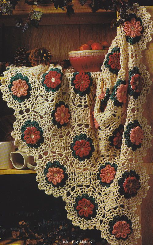 Crochet Pattern Fluted Flowers Afghan Instructions Afghans