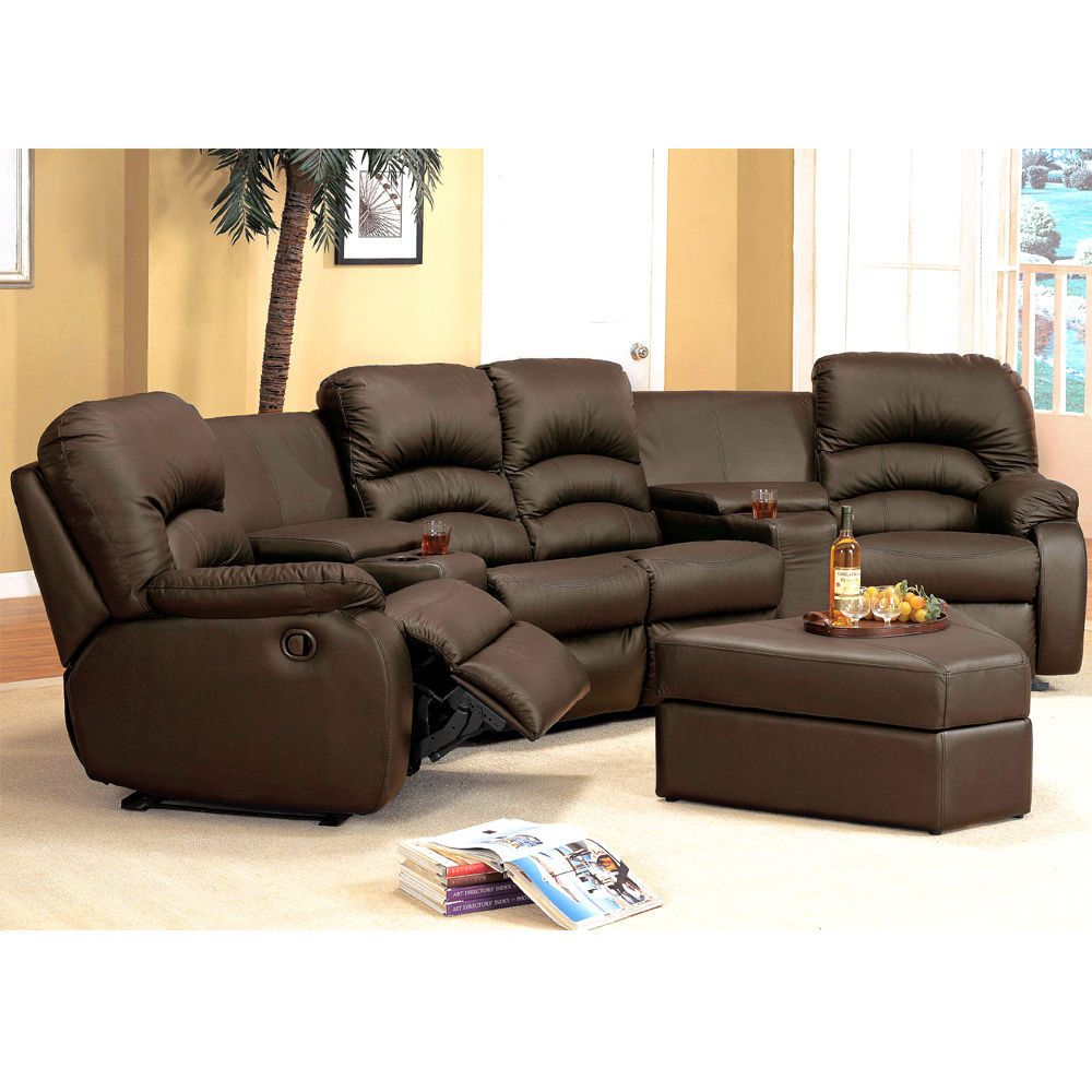 Reclining Sofa Sectionals For Small Spaces Sofa Sectional Furniture 7Pc, Brown Leather Recliner Seats, Ottoman, Sofas,  Loveseats u0026 Chaises