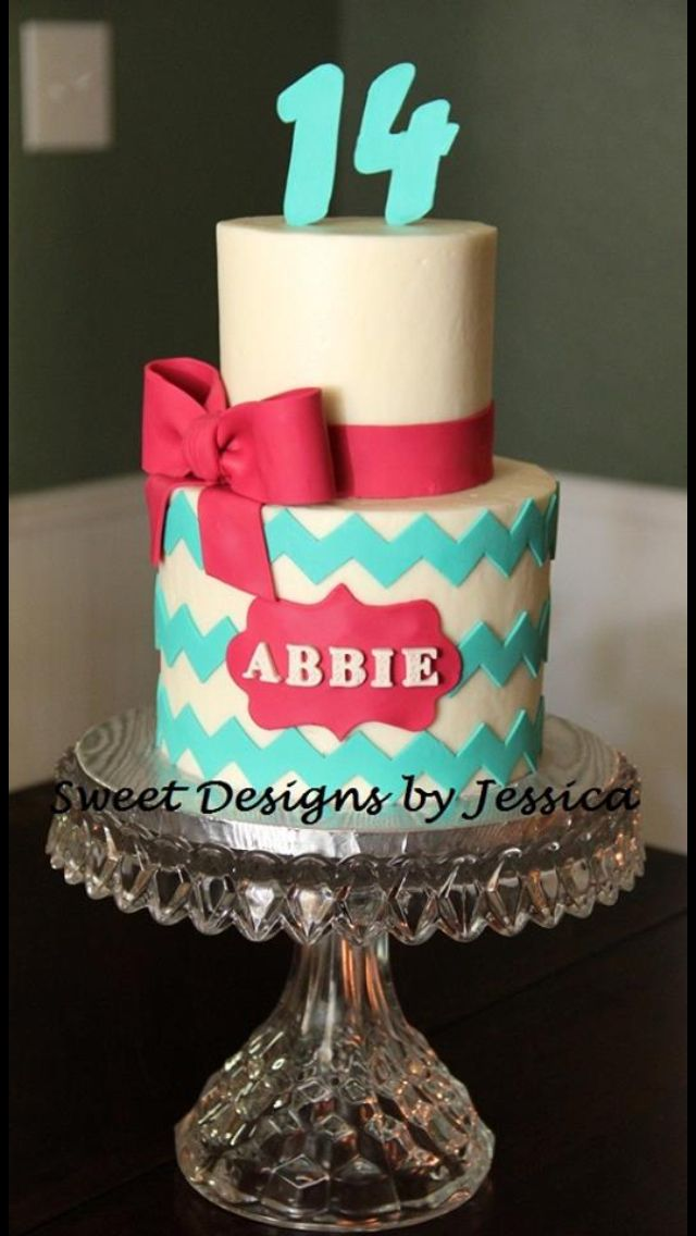 Abbie S 14th 14th Birthday Cakes Cake Chevron Cakes