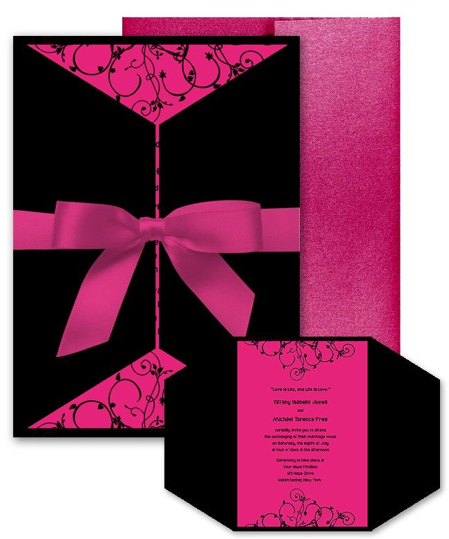 Cali Hot Pink Black Scroll Swirl Custom WeddingBat Mitzvah – Black White and Pink Wedding Invitations