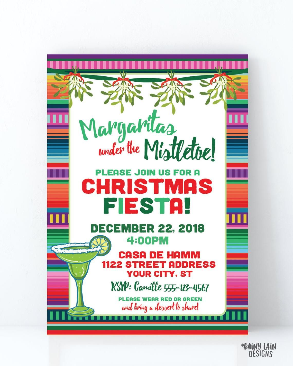 Margaritas Under The Mistletoe Invitation Mistletoe And
