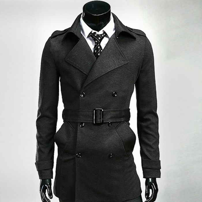 Mens Coats Red Black Long Trench Coat Men With Belt 2014 Winter ...