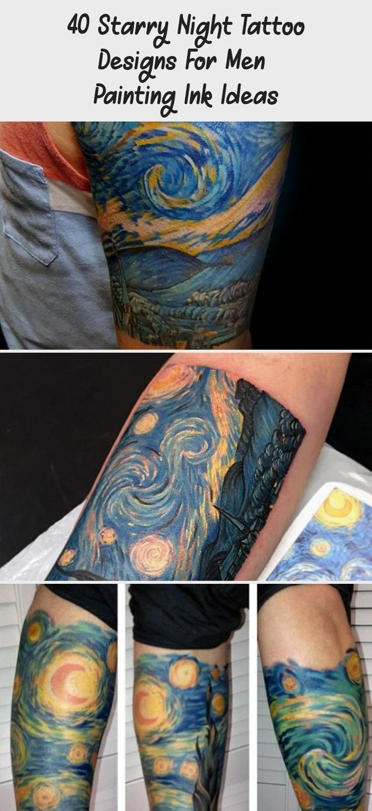 40 Starry Night Tattoo Designs For Men Painting Ink Ideas In