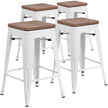 Prime Flash Furniture 4 Pk 24 Inch High Backless White Metal Gamerscity Chair Design For Home Gamerscityorg