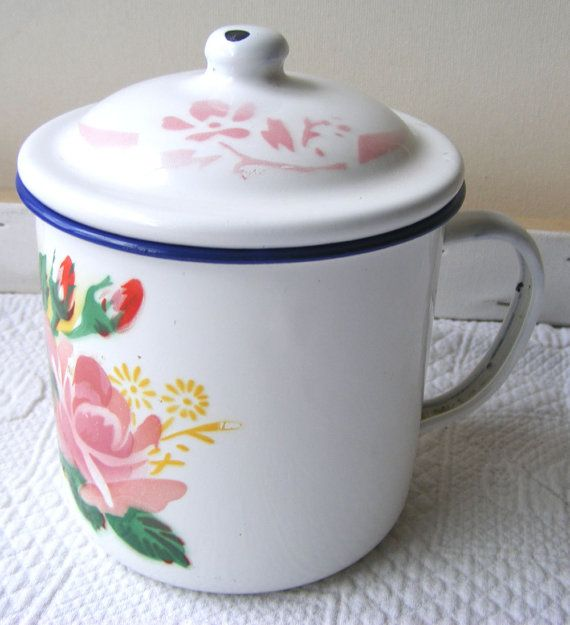 Extra Large Vintage Enamel Mug With Lid Soup By Vintageinclination