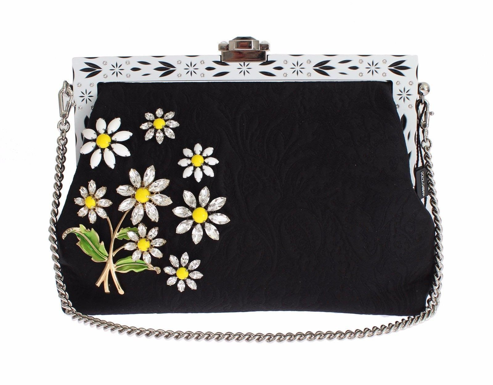 9f44b94e2c14 Purse VANDA Black Brocade Floral Crystal Clutch