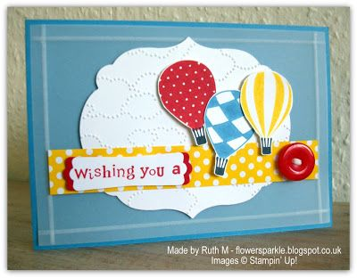 By Ruth M Flower Sparkle Hot Air Balloons Birthday Wishes Card