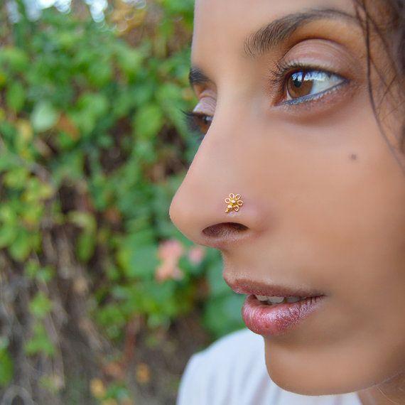 Gold Flower Nose Stud Nose Piercing 22k Gold Nose Ring Stud