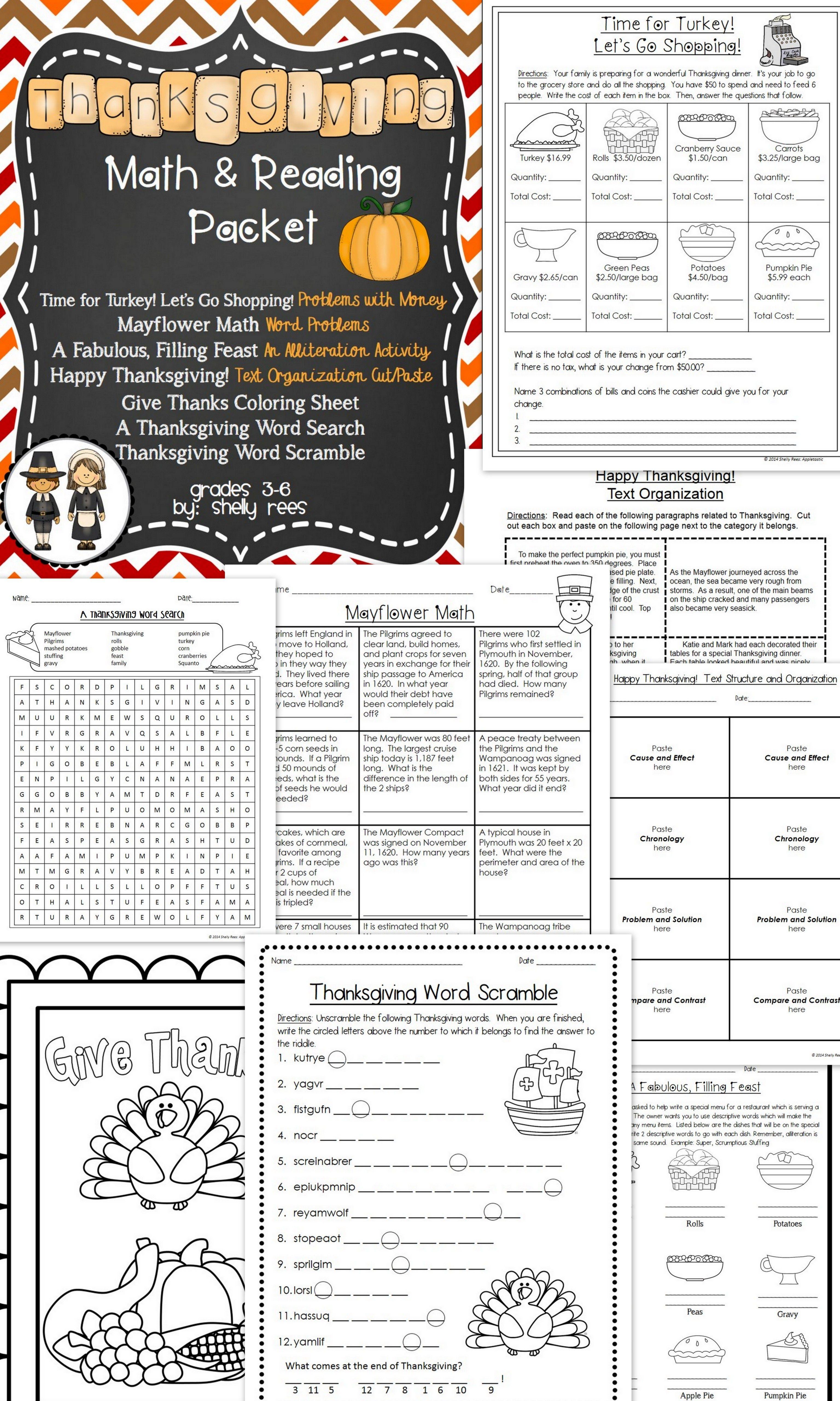 Thanksgiving Math and Thanksgiving Reading Thanksgiving
