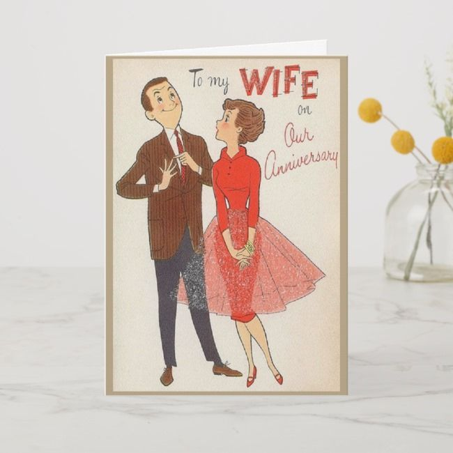 Retro Anniversary Card To Wife Zazzle Com Anniversary Cards Funny Anniversary Cards Anniversary Cards For Husband
