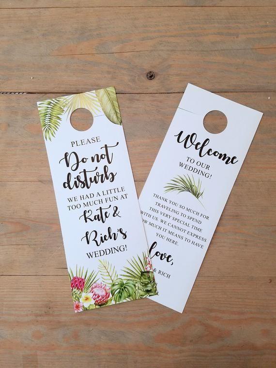 Photo of Tropical Wedding Do not disturb door hanger, wedding itinerary, wedding welcome, hotel door hangers, wedding sign, room hanger, RC0017