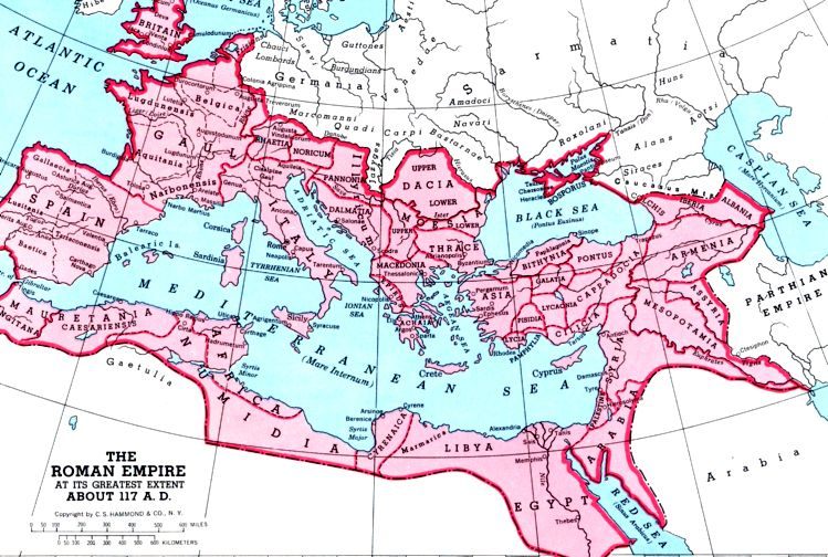 Map of the Roman Empire at its peak  Historical Roman Time