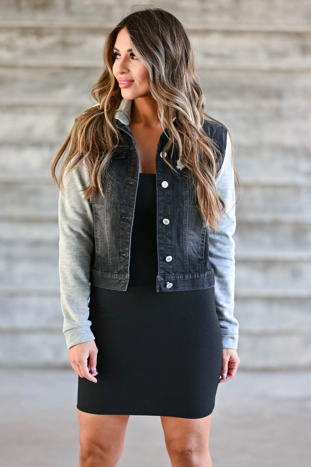 Black bodycon dress with jean jacket download and