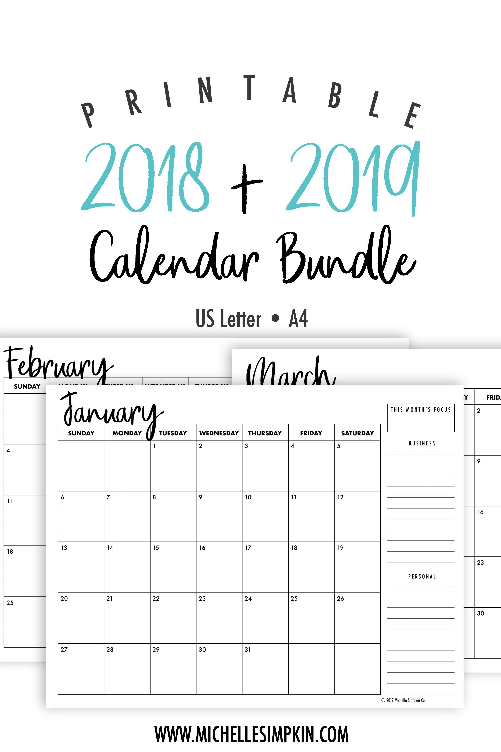 2019 2020 Printable Monthly Calendars Bundle Landscape Us