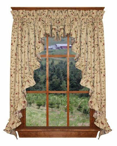 Cherry Blossoms Print Ruffle 3 Piece Swag Curtains Set 132 Inch By