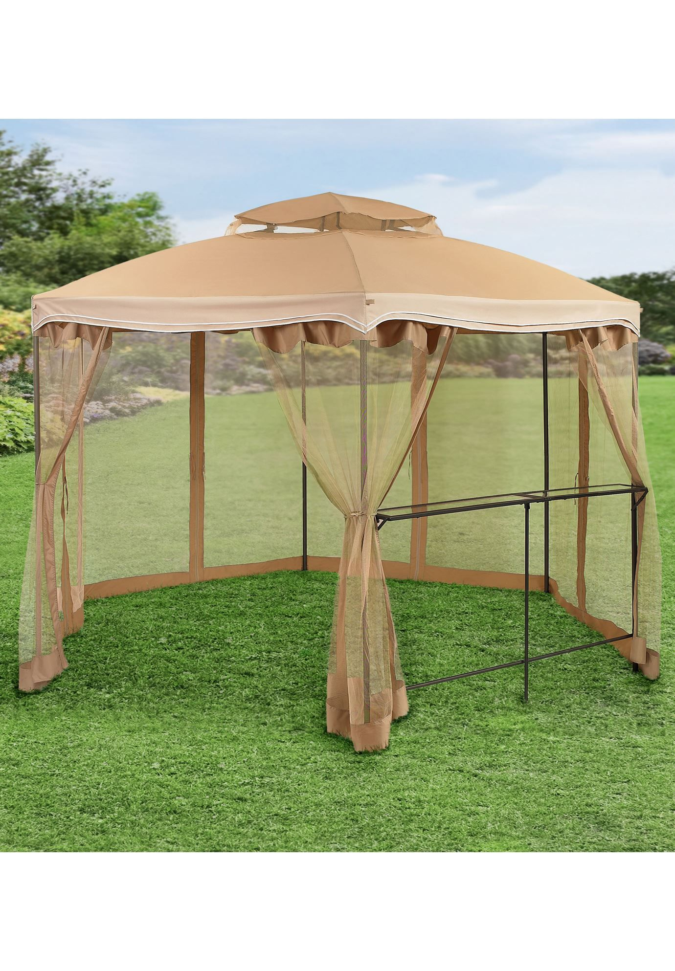Brylane Homea 10ft X 13ft Hexagon Gazebo With Bar Shelf Hexagon Gazebo Gazebo Canopy Outdoor
