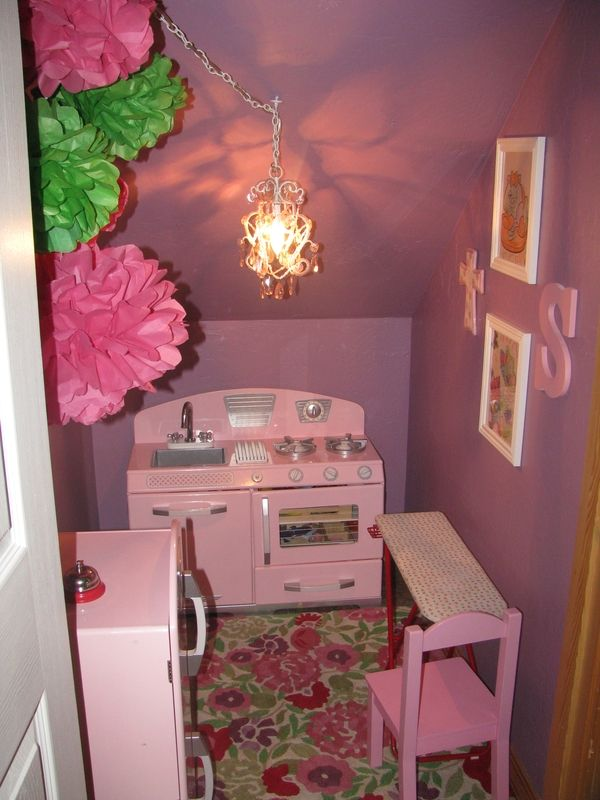 This is underneath my stairs a PLAY kitchen for my kids turned out SO CUTE! my-own-pins