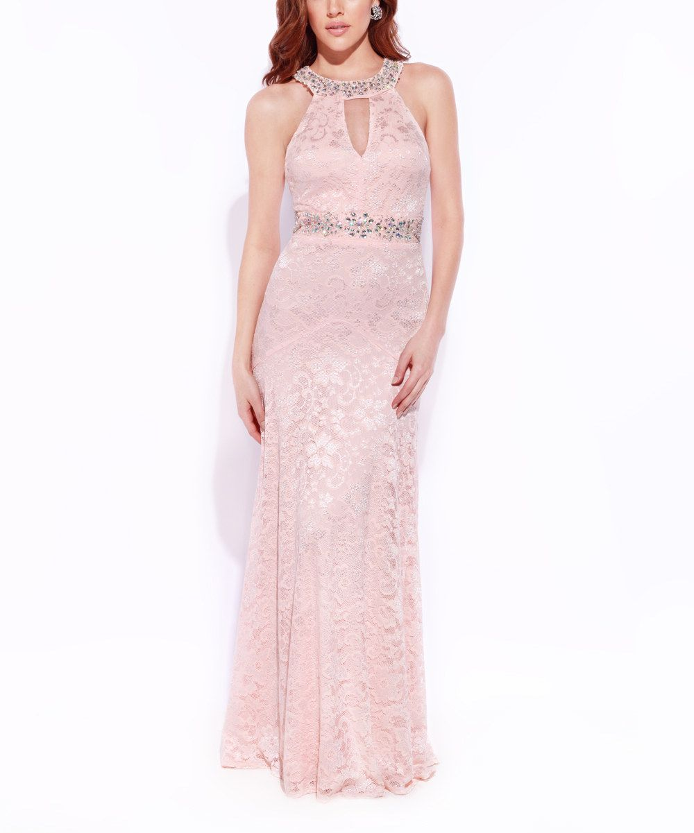 Josh Jazz Blush Lace Rhinestone Yoke Dress Women Wedding Guest Dress Fall Wedding Guest Dress Zulily Dresses [ jpg ]