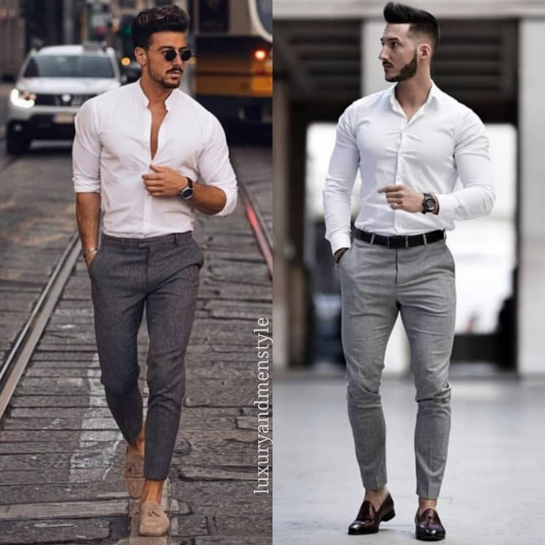Follow Luxuryandmenstyle If You Like Casual Style Which One 1 Or 2 Style By Rowanrow An Pants Outfit Men Grey Dress Pants Men Mens Summer Outfits [ 1080 x 1080 Pixel ]
