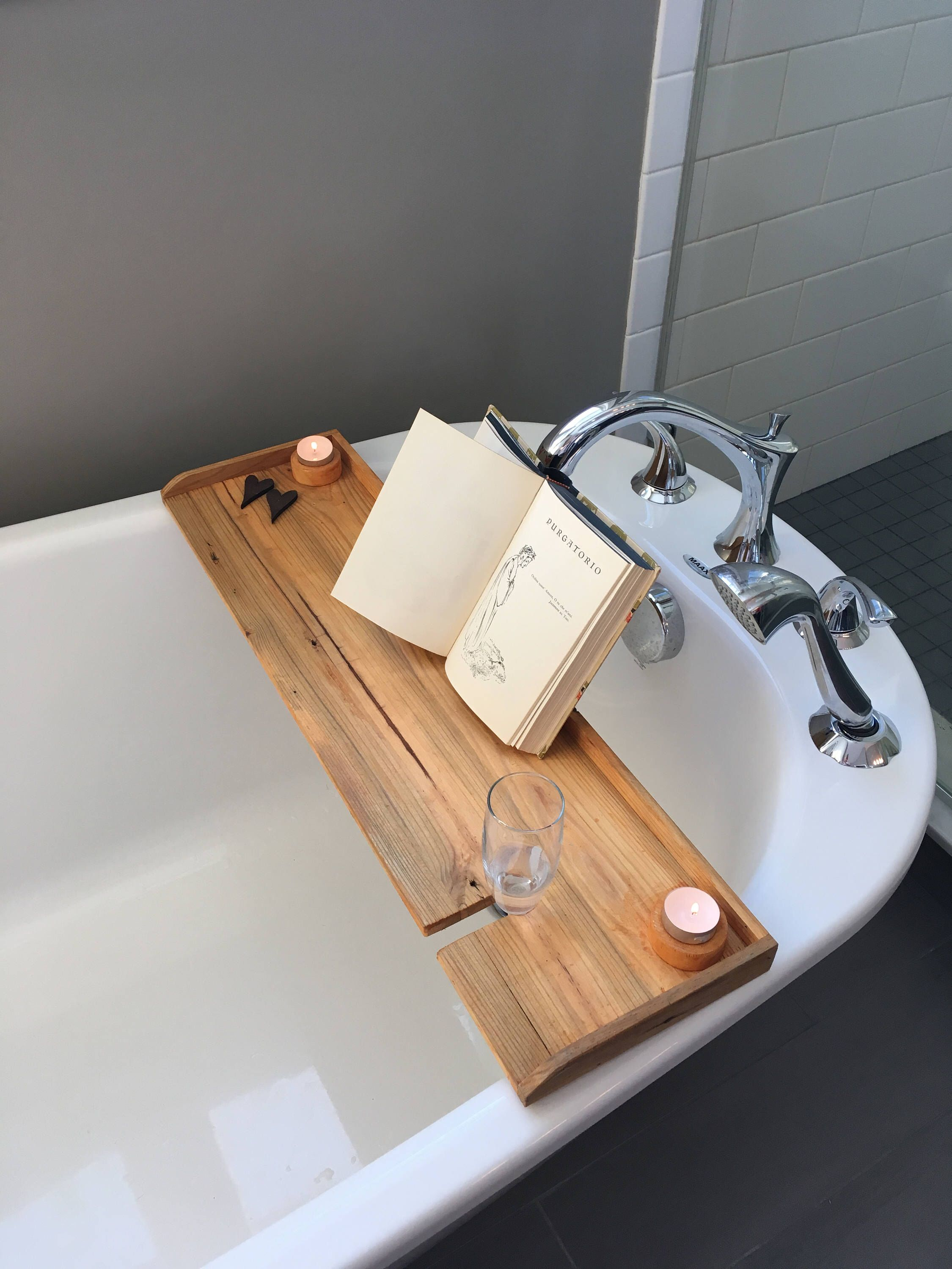 Bathtub tray, wood bath board, rustic bath shelf, adjustable book ...