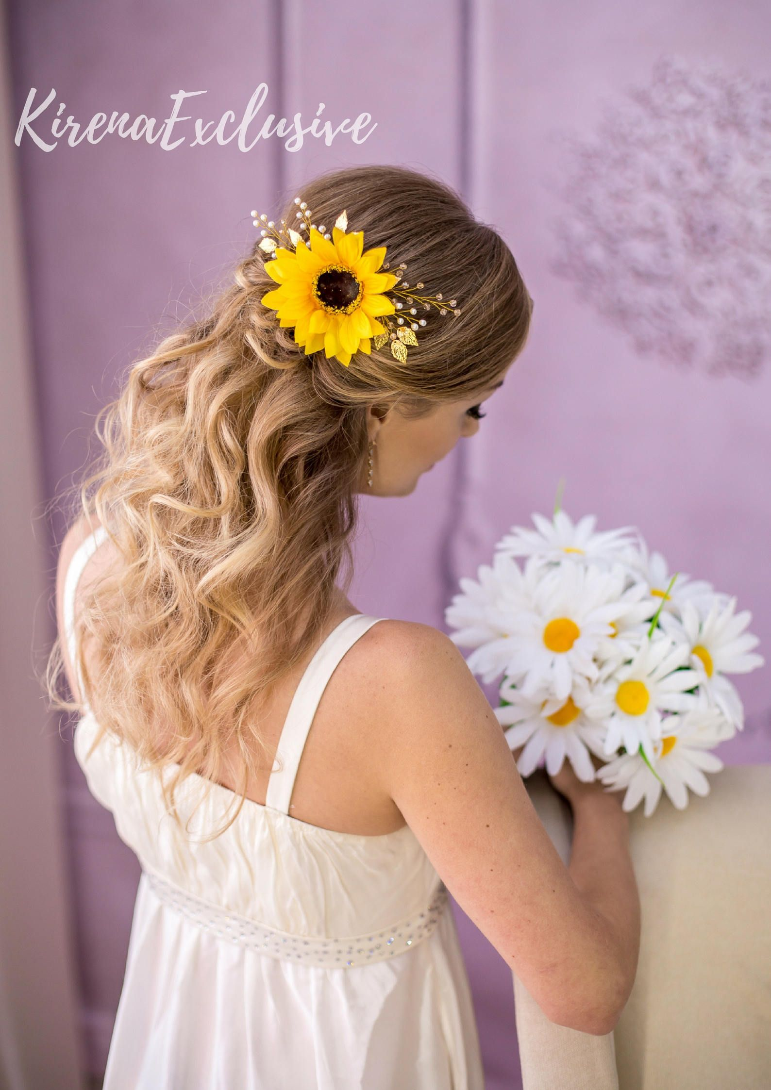 sunflower flower crown rustic wedding sunflower headpiece