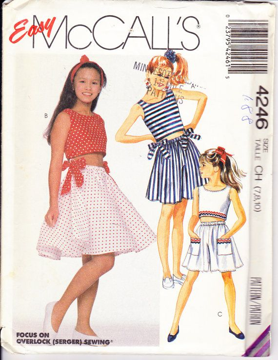 McCall\'s 4246 Vintage Girls 1980s Sewing Pattern Cropped Sleeveless ...