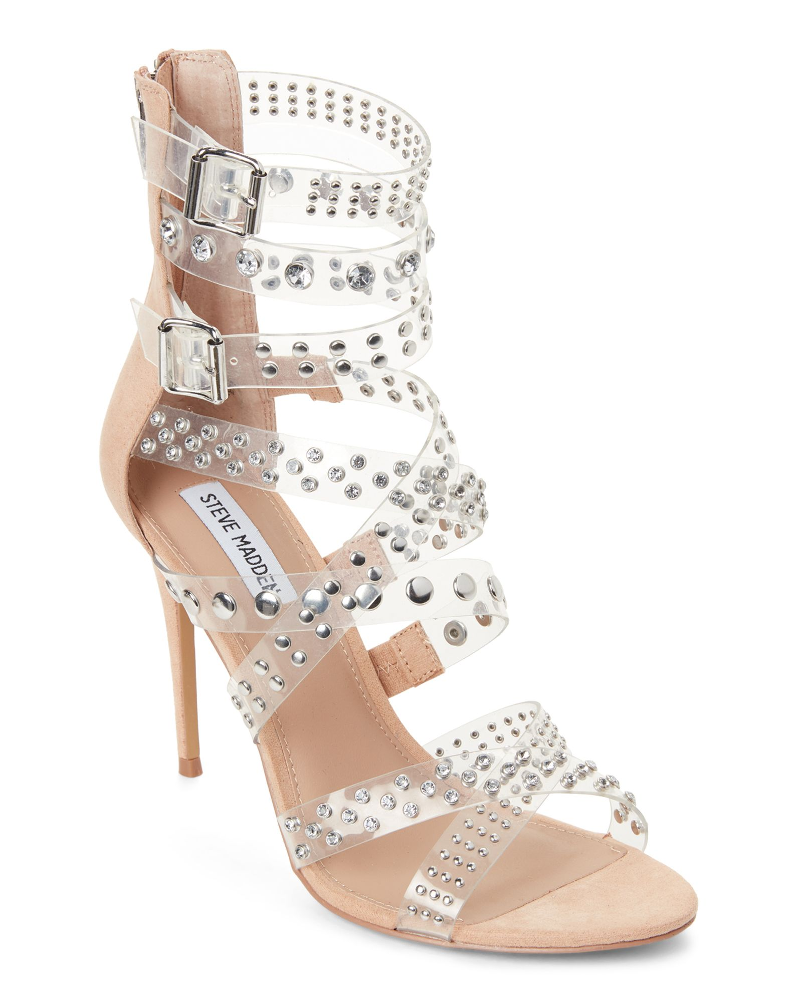 Lionel Green Street Caso Wardian Navidad  Steve Madden Clear Moto PVC Studded Strappy Sandals | Strappy sandals,  Studded, Stiletto pumps