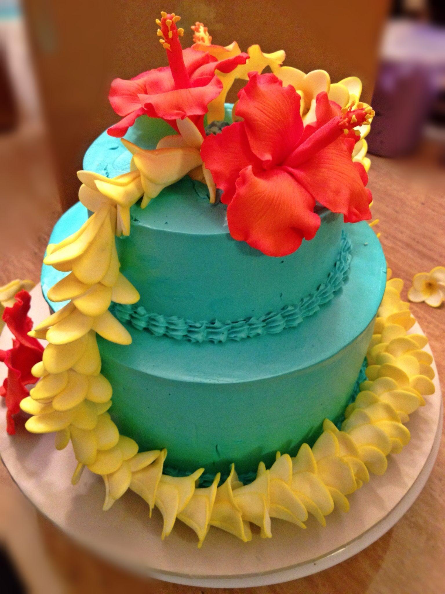 Superb Hawaiian Themed Cake Hawaii Cake Tropical Wedding Cake Luau Funny Birthday Cards Online Inifofree Goldxyz