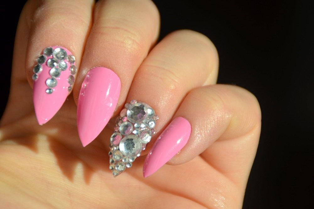 Pink Design Stiletto Nails Diamonds Nails Stick On Nails Press On Nails Nail Designs Nail Art Stilett Diamond Nails Stick On Nails Stiletto Nails Designs