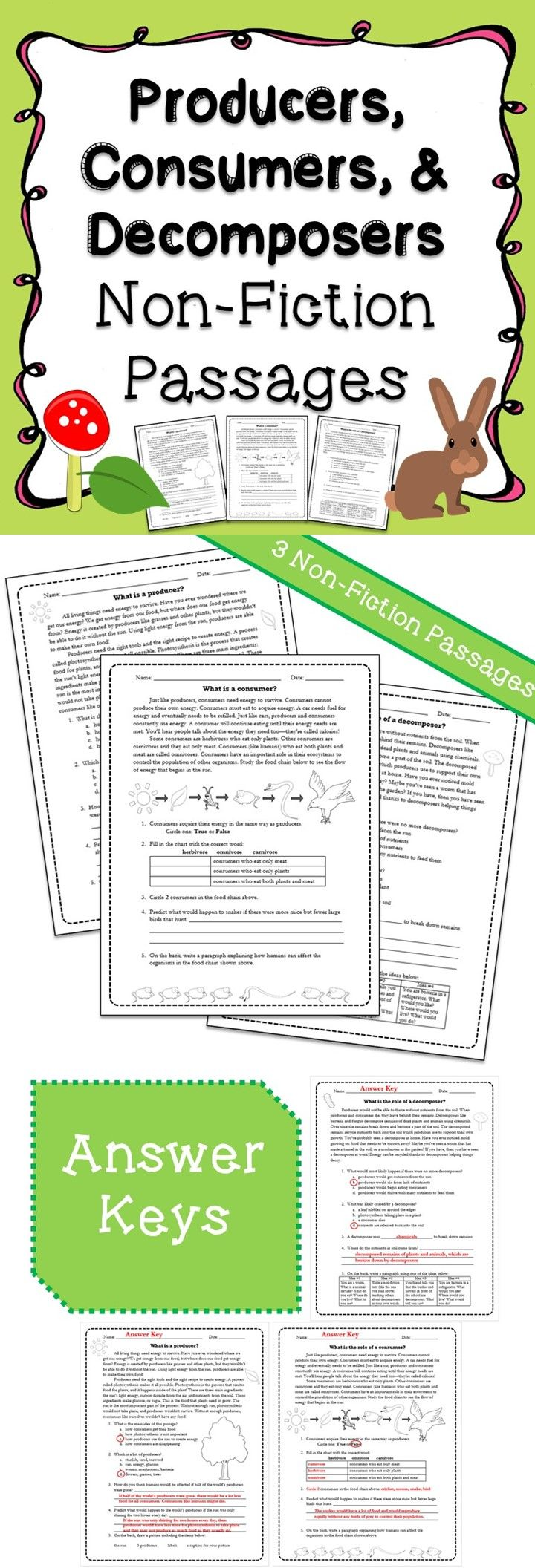 Worksheets Producers Consumers And Decomposers Worksheet producers consumers decomposers non fiction passages lexile passages