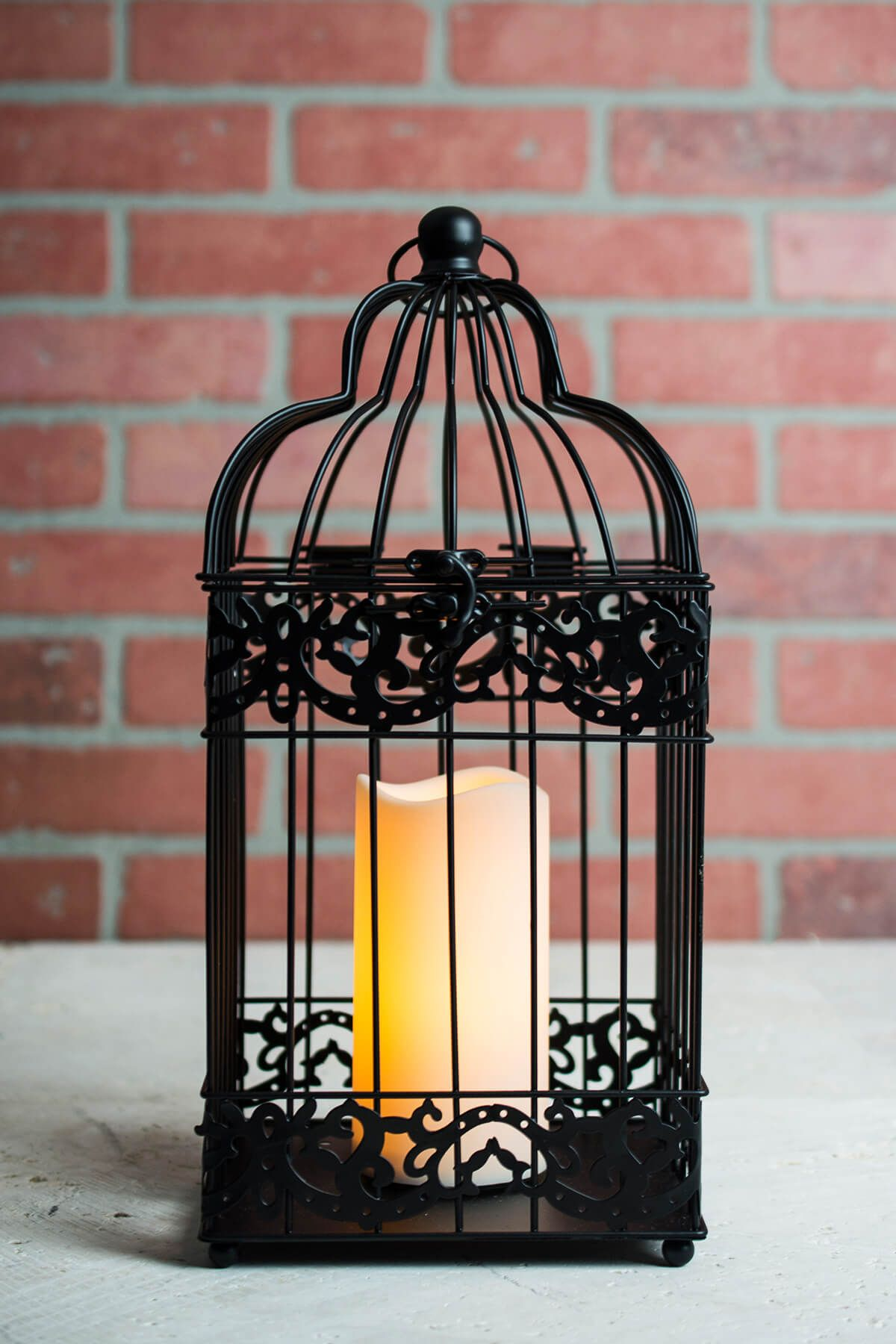 Black Bird Cage Candle Lantern Battery Operated 15in Bird Cage Candle Candle Lanterns Black Bird Cage