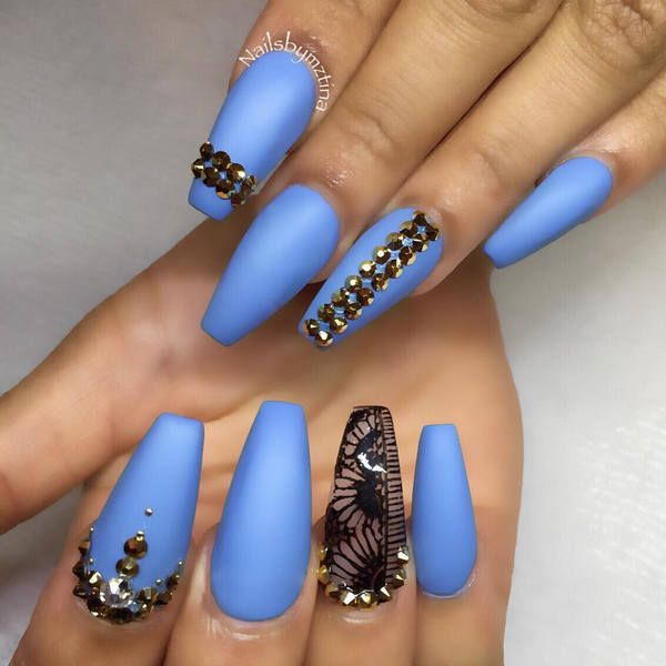 light-blue-matte-nails | nails | Pinterest | Blue stiletto nails ...