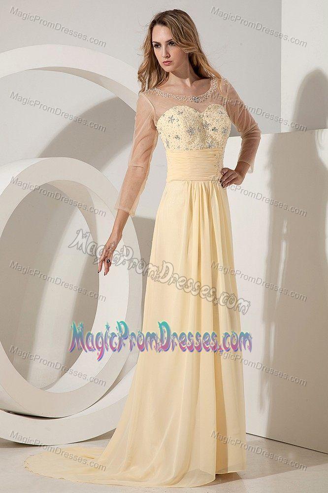 Light Yellow Beading Empire Scoop Junior Prom Dresses in Belmont