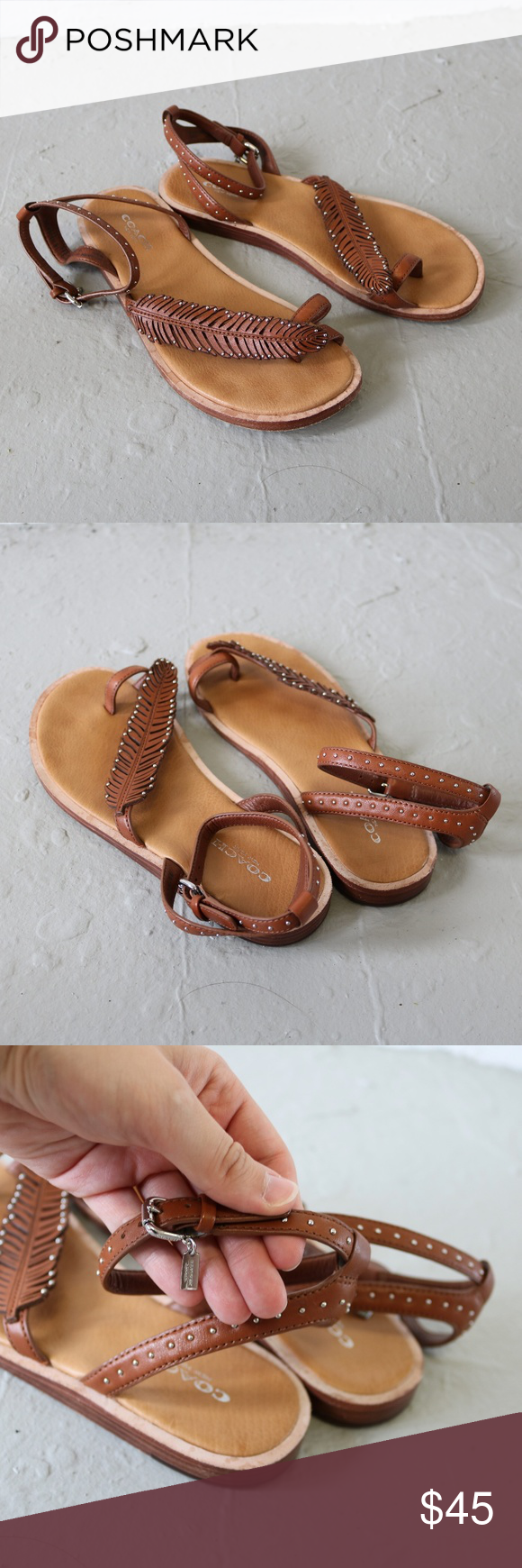 59696be8745ce5 Coach Beach Feather Sandal in Brown Saddle Size 6 adorable sandals with  feather motif and studs for the summer! Jennifer Lawrence was photographed  wearing ...
