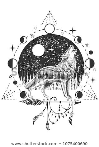 Vector Animal Tattoo Or T Shirt Print Design Howling Wolf Combined With Nature Moon Phases Geometric Pattern An Howling Wolf Tattoo Wolf Tattoo Wolf Howling