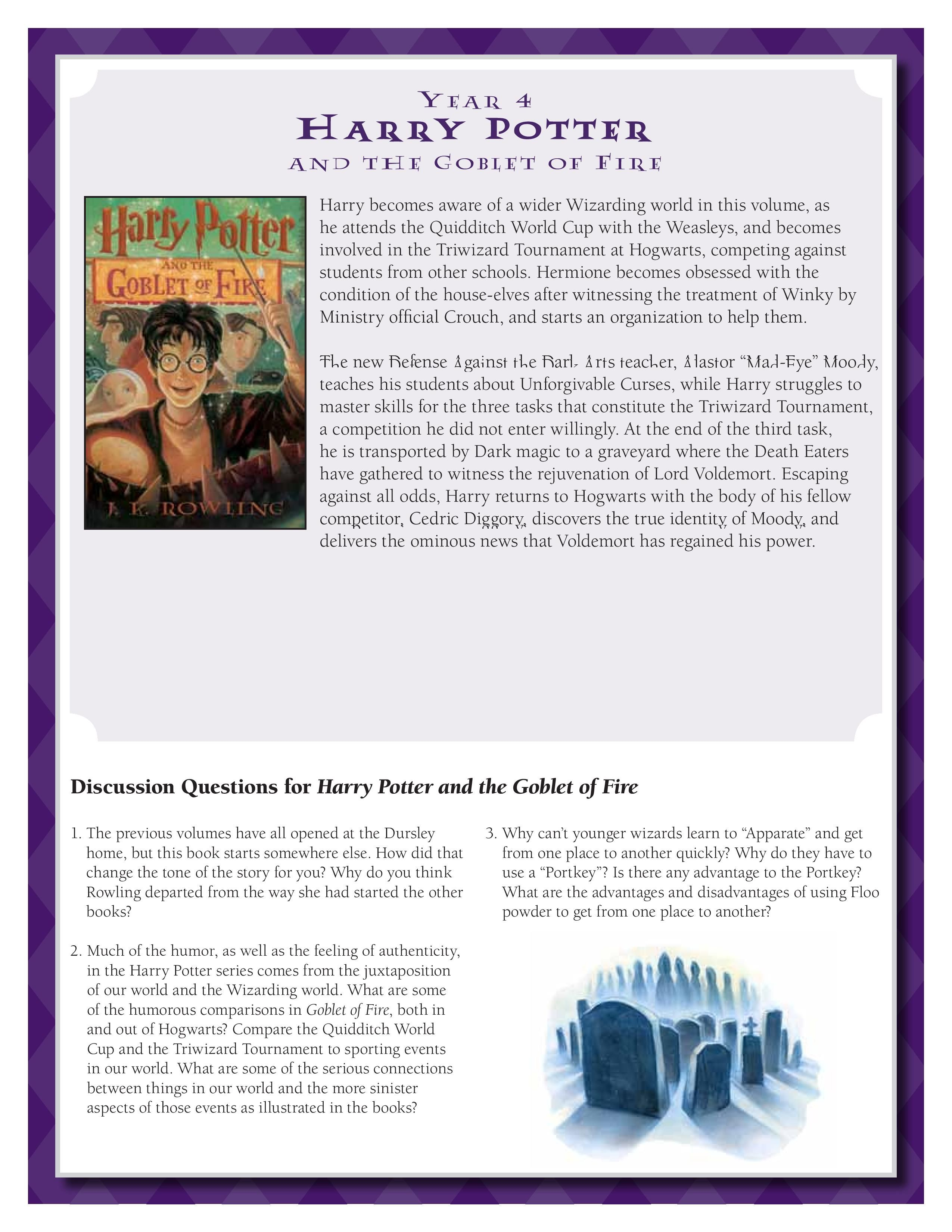 Discussion Guide For Harry Potter And The Goblet Of Fire By J K Rowling Download By Clicking