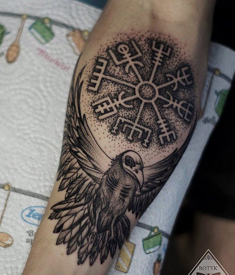 Image of viking raven tattoo and vegvisir