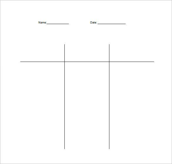T Chart Template \u2013 9+ Free Word, Excel, PDF Format Download! Free