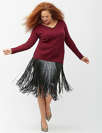 8c13e68be17dd 6th   Lane gets in on the fringe trend with this two-tiered skirt in luxe  faux leather. Soft knit top with an elastic waist for comfortable pull-on  styling. ...