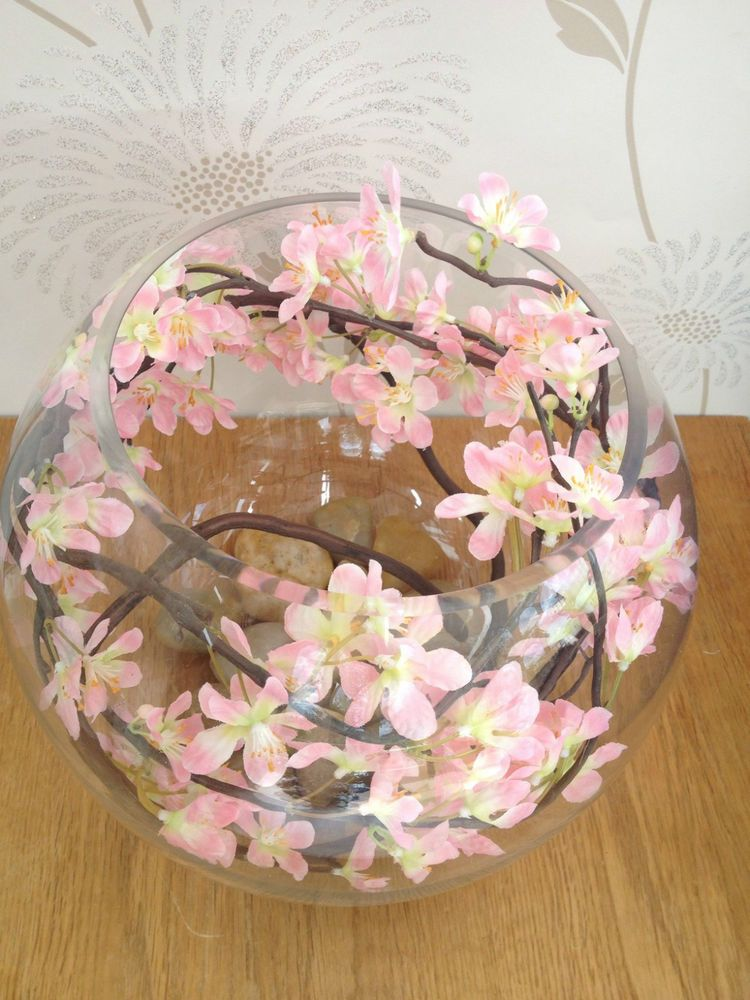 Gorgeous Artificial Flower Arrangement Cherry Blossom Water In Large Fish Bowl Cherry Blossom Decor Cherry Blossom Wedding Theme Cherry Blossom Bedroom