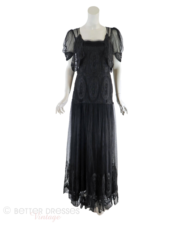 30s Black Lace Evening Gown - sm, med   Pinterest   Black lace gown ...