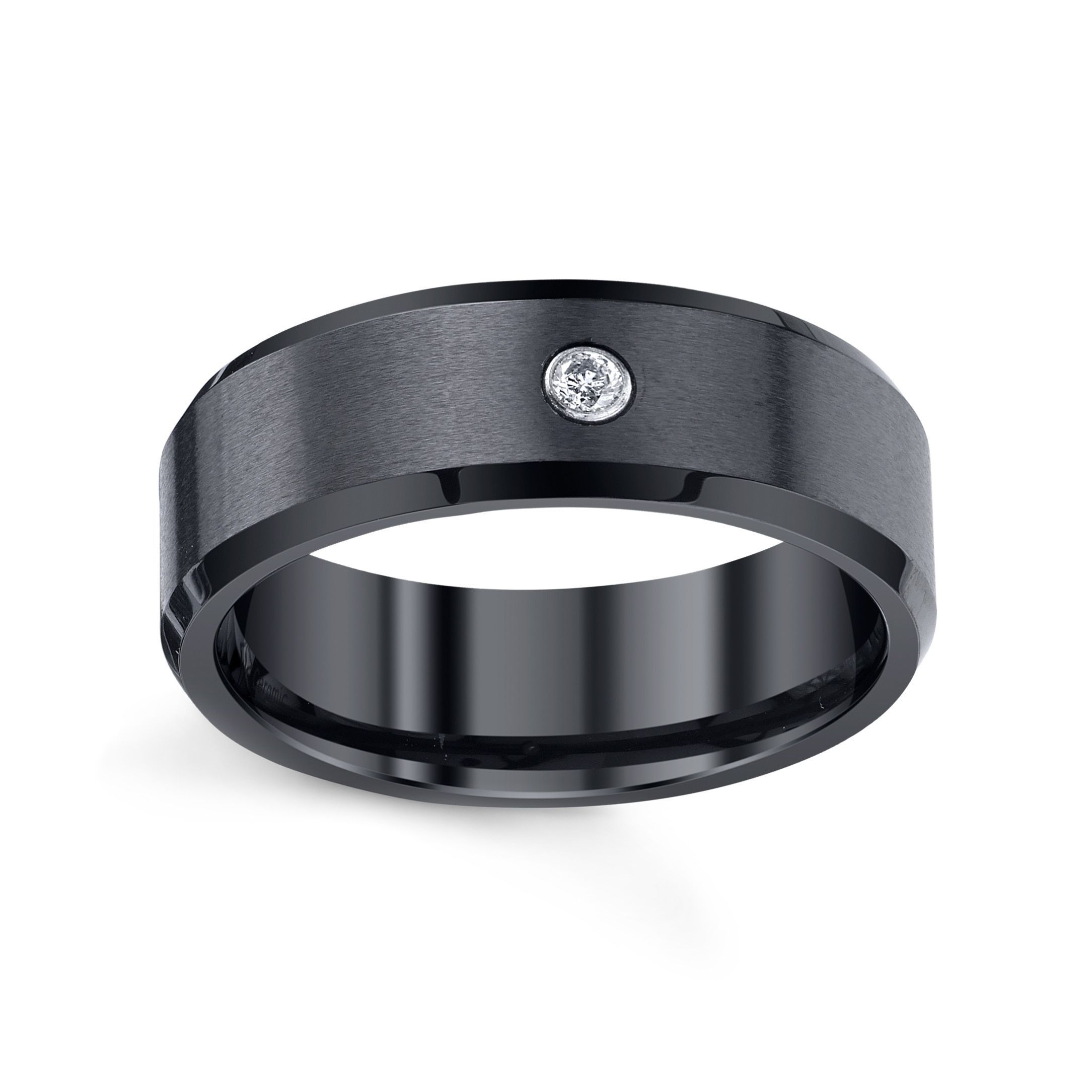 Men's Black Ceramic Satin and High Polished Band with