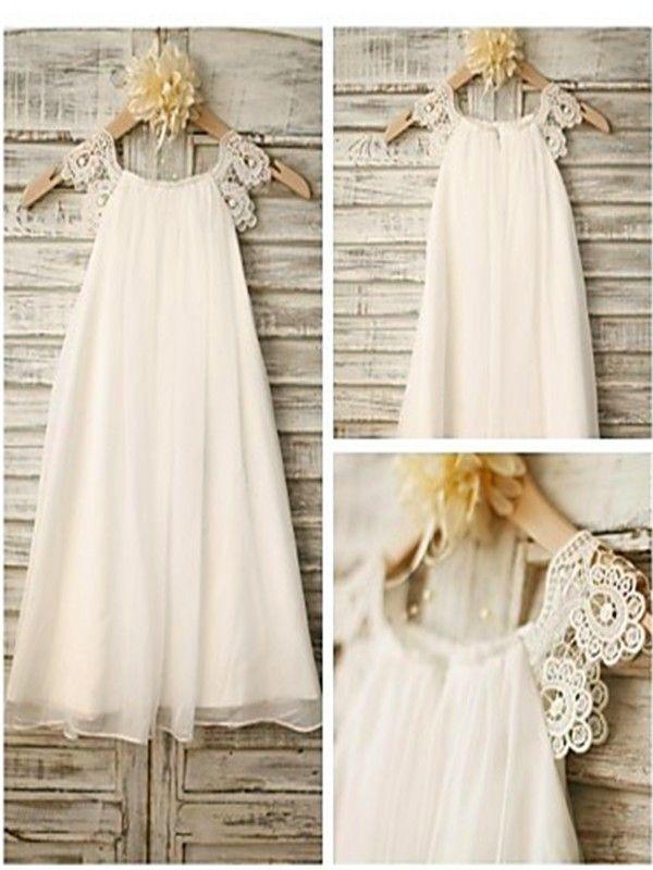 ec5203e876 A-line Princess Scoop Sleeveless Lace Floor-Length Chiffon Flower Girl  Dresses
