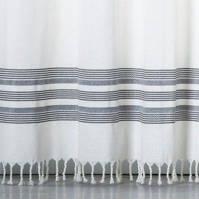 striped fringe shower curtain off white