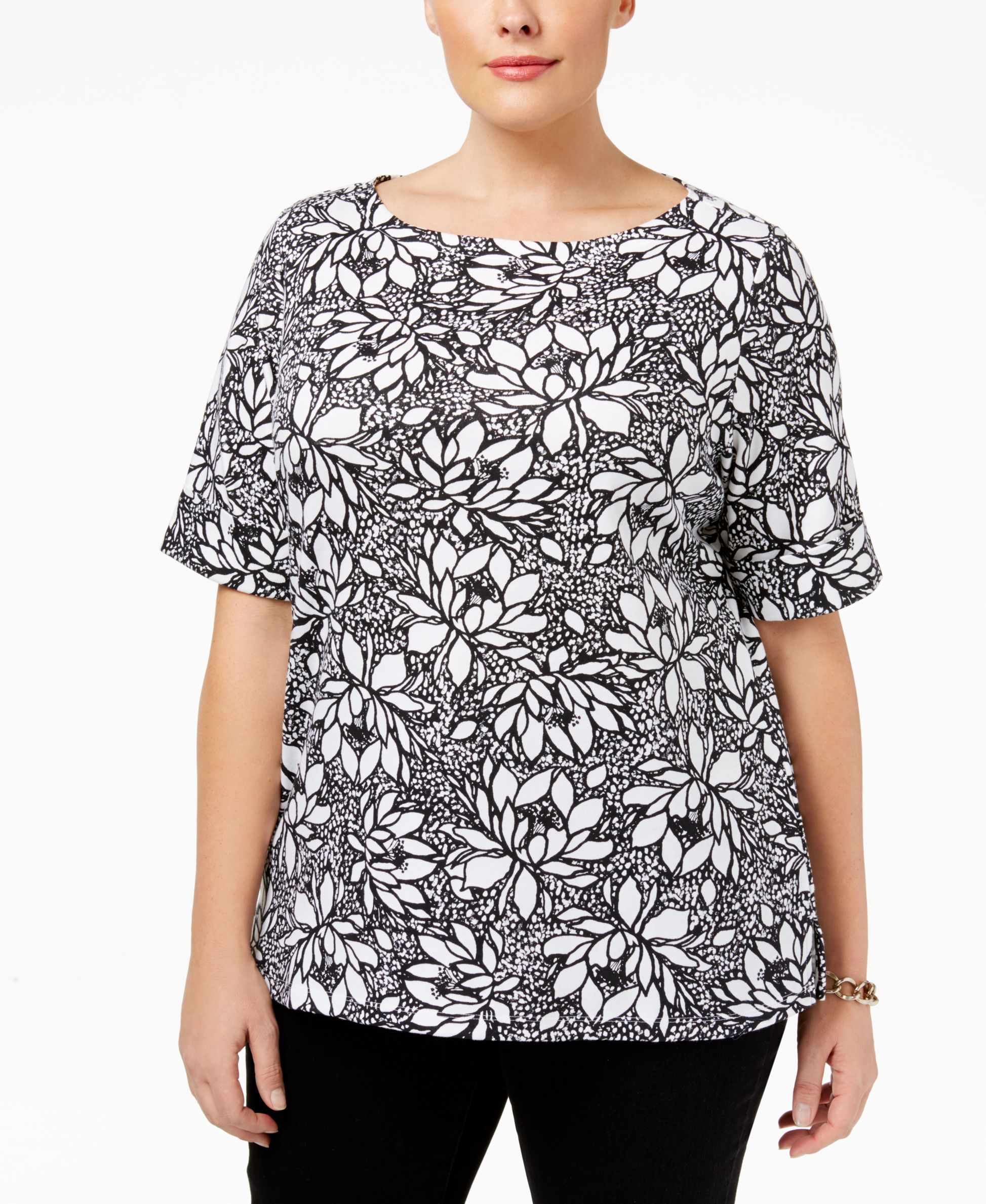 91e2bc5dd53f Karen Scott Plus Size Floral-Print Cuffed T-Shirt, Only at Macy's ...