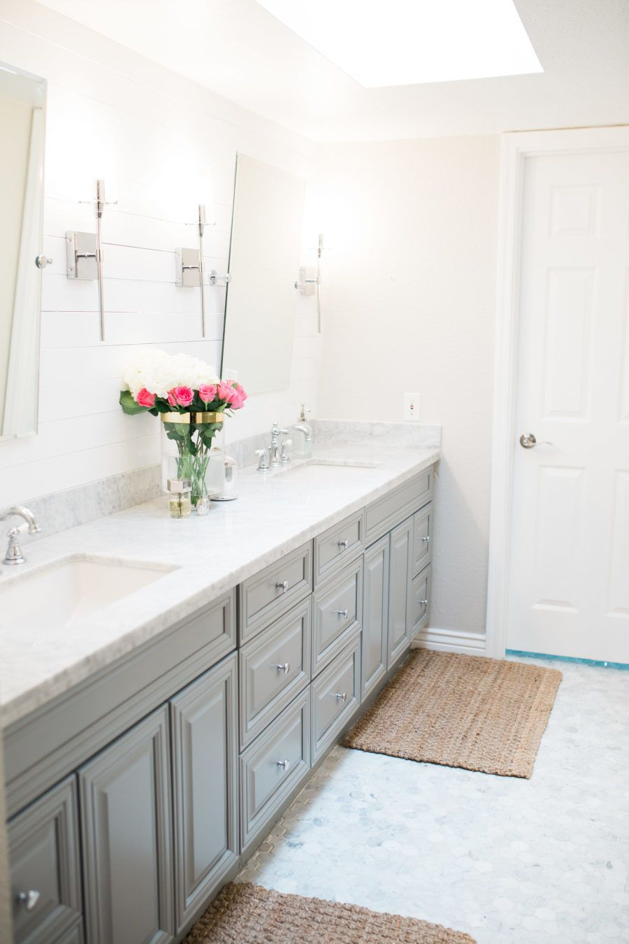 Master bathroom remodel design before and after on a for Redo bathroom floor