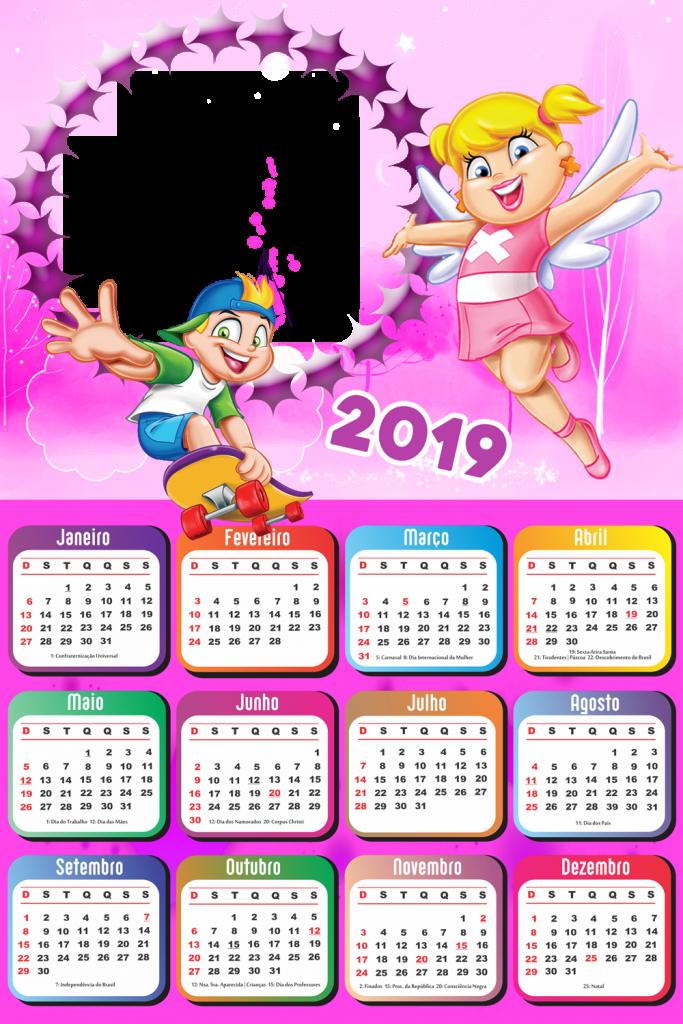 Molduras Calendario 2019 Personagens De Desenho Animado