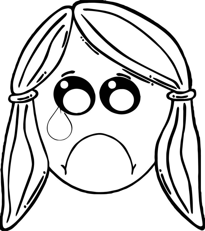 Cry Girl Boy Face Coloring Page