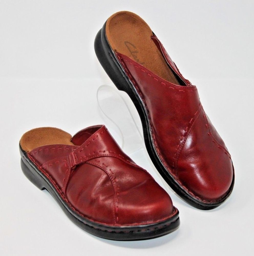 63f0d1bae8318 Clarks Size 8M Womens Clog Shoes Red Leather Mules Slip On Made In ...