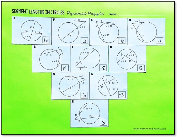 Segment Lengths In Circles Chords Secants And Tangents Pyramid